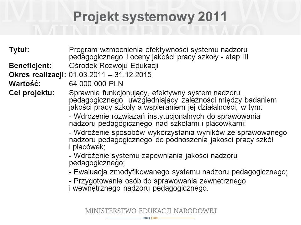 Projekt systemowy 2011 Tytuł: Program wzmocnienia efektywności systemu nadzoru pedagogicznego i oceny jakości pracy szkoły - etap III Beneficjent: Ośr