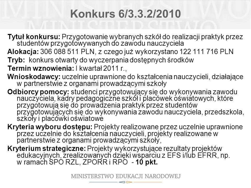 Konkurs 6/3.3.2/2010 Tytuł konkursu: Przygotowanie wybranych szkół do realizacji praktyk przez studentów przygotowywanych do zawodu nauczyciela Alokac