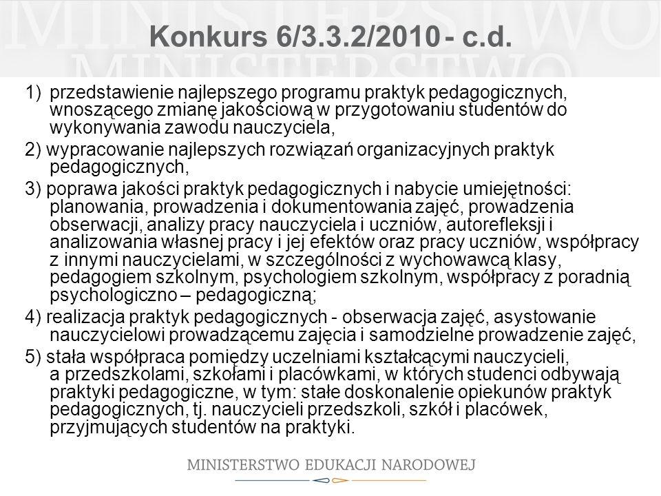 Konkurs 6/3.3.2/2010 - c.d. 1)przedstawienie najlepszego programu praktyk pedagogicznych, wnoszącego zmianę jakościową w przygotowaniu studentów do wy
