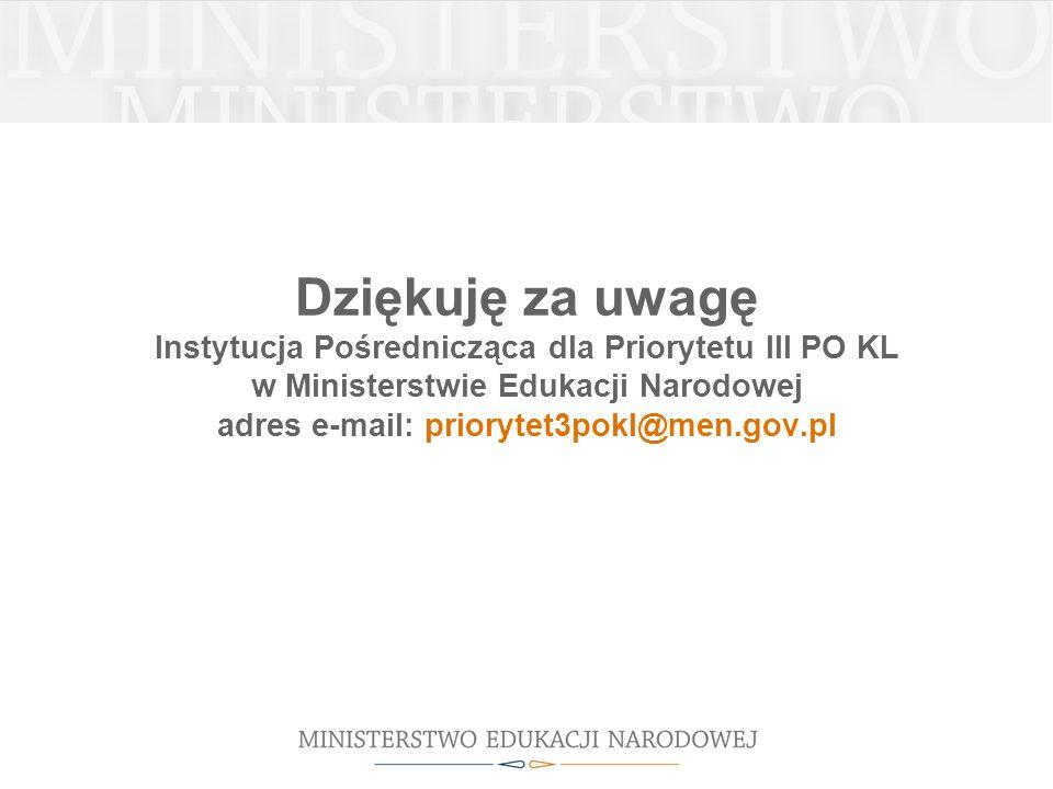 Dziękuję za uwagę Instytucja Pośrednicząca dla Priorytetu III PO KL w Ministerstwie Edukacji Narodowej adres e-mail: priorytet3pokl@men.gov.pl