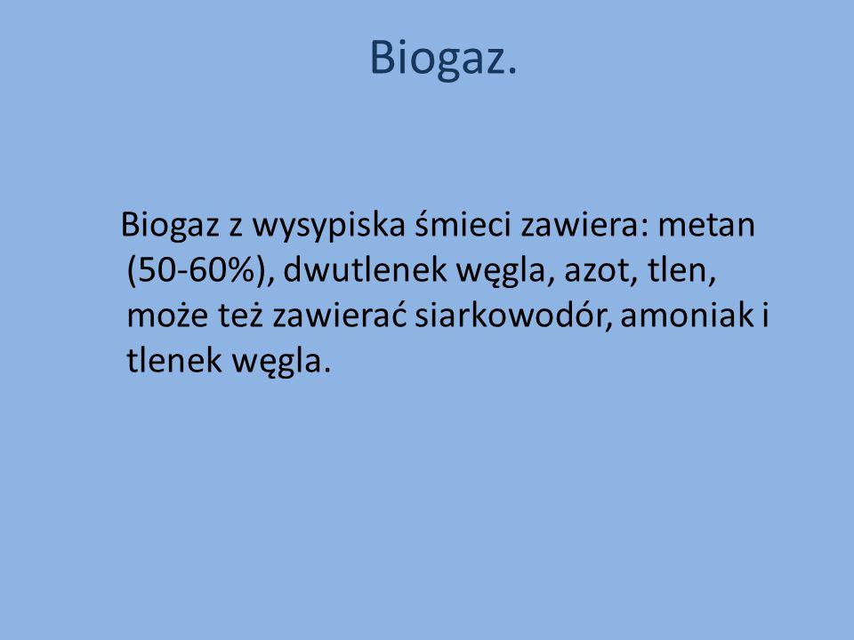 Biogaz z wysypiska śmieci zawiera: metan (50-60%), dwutlenek węgla, azot, tlen, może też zawierać siarkowodór, amoniak i tlenek węgla. Biogaz.