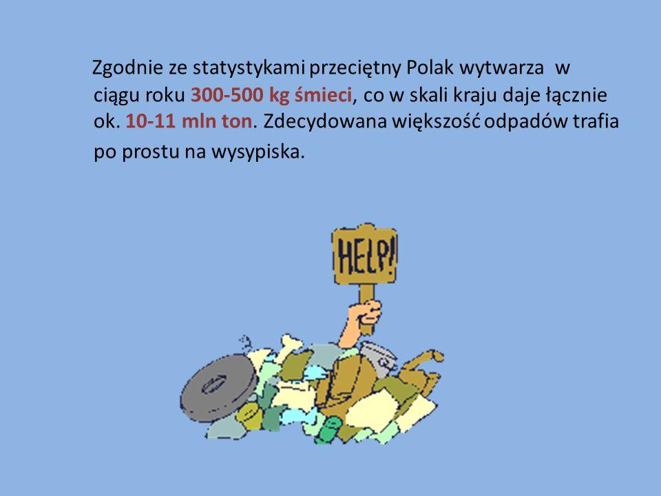 Zgodnie ze statystykami przeciętny Polak wytwarza w ciągu roku 300-500 kg śmieci, co w skali kraju daje łącznie ok. 10-11 mln ton. Zdecydowana większo