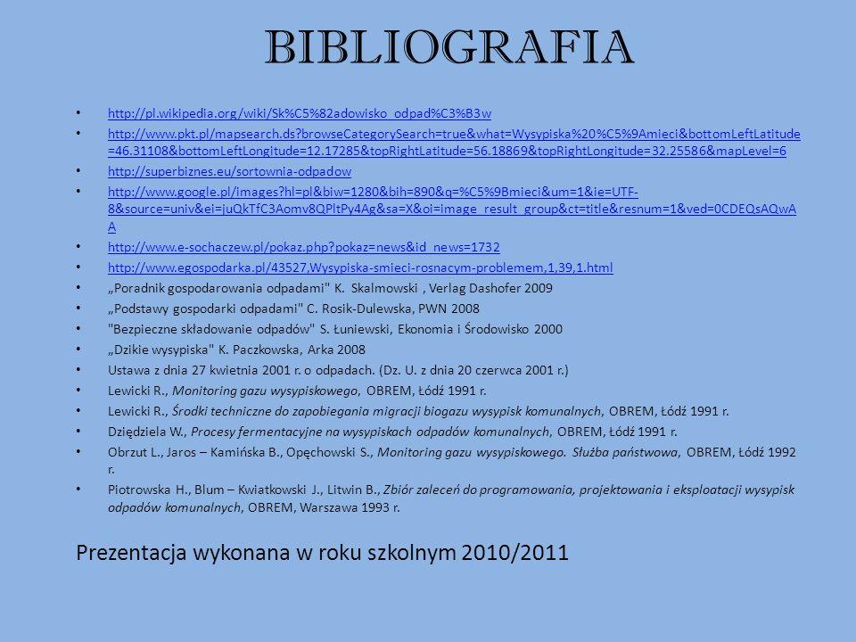 BIBLIOGRAFIA http://pl.wikipedia.org/wiki/Sk%C5%82adowisko_odpad%C3%B3w http://www.pkt.pl/mapsearch.ds?browseCategorySearch=true&what=Wysypiska%20%C5%