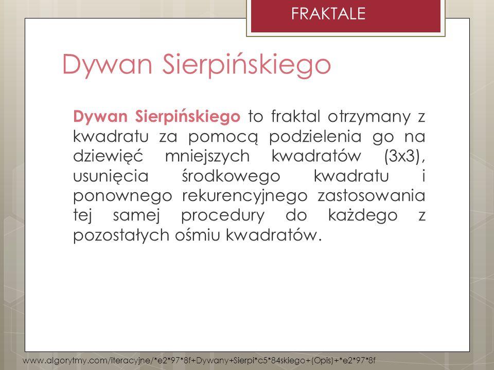 Dywan Sierpińskiego to fraktal otrzymany z kwadratu za pomocą podzielenia go na dziewięć mniejszych kwadratów (3x3), usunięcia środkowego kwadratu i p