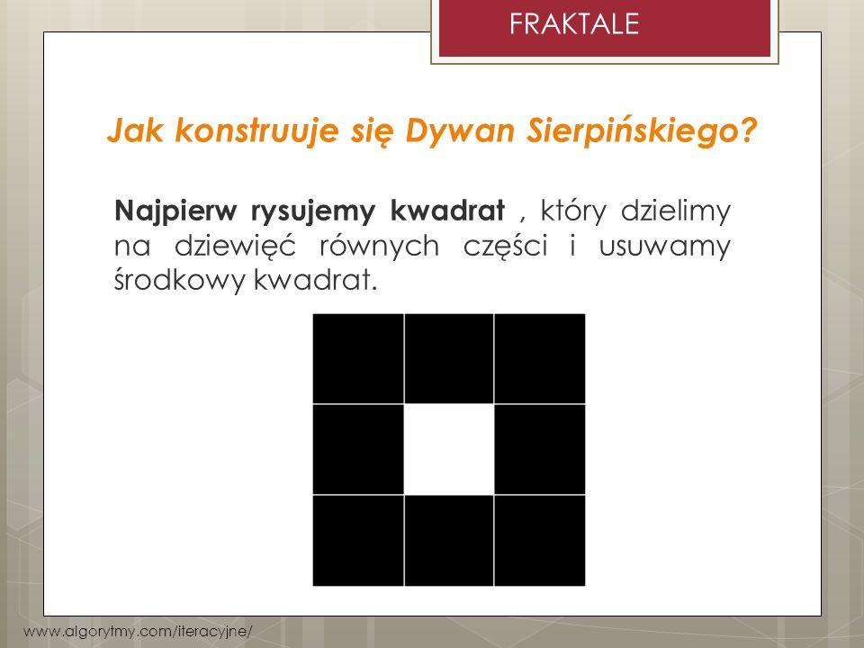 Jak konstruuje się Dywan Sierpińskiego? Najpierw rysujemy kwadrat, który dzielimy na dziewięć równych części i usuwamy środkowy kwadrat. www.algorytmy