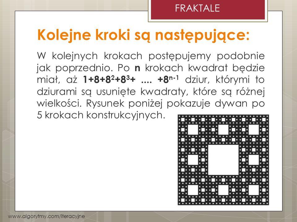 Kolejne kroki są następujące: W kolejnych krokach postępujemy podobnie jak poprzednio. Po n krokach kwadrat będzie miał, aż 1+8+8 2 +8 3 +.... +8 n-1