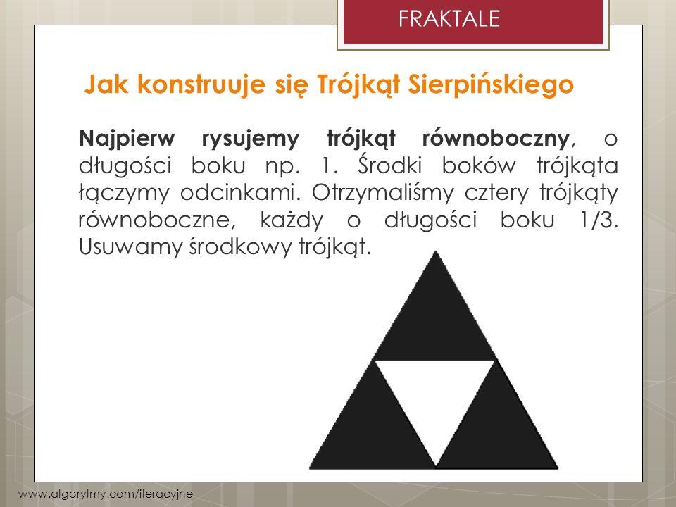 Jak konstruuje się Trójkąt Sierpińskiego Najpierw rysujemy trójkąt równoboczny, o długości boku np. 1. Środki boków trójkąta łączymy odcinkami. Otrzym