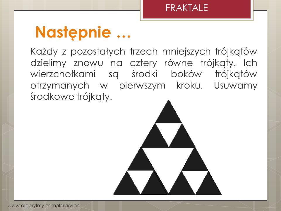 Następnie … Każdy z pozostałych trzech mniejszych trójkątów dzielimy znowu na cztery równe trójkąty. Ich wierzchołkami są środki boków trójkątów otrzy