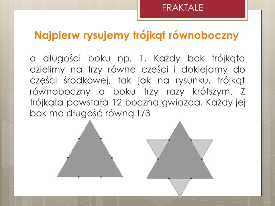Najpierw rysujemy trójkąt równoboczny o długości boku np. 1. Każdy bok trójkąta dzielimy na trzy równe części i doklejamy do części środkowej, tak jak