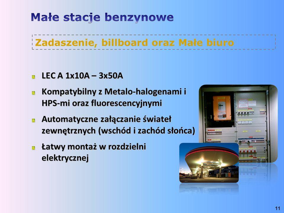 LEC A 1x10A – 3x50A Kompatybilny z Metalo-halogenami i HPS-mi oraz fluorescencyjnymi Automatyczne załączanie świateł zewnętrznych (wschód i zachód sło