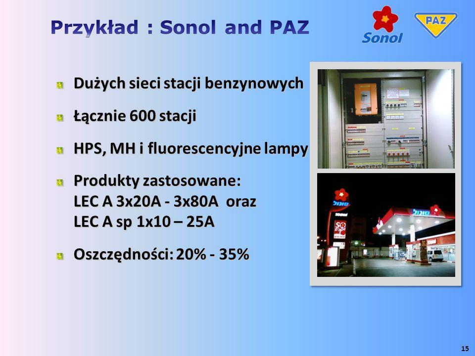Dużych sieci stacji benzynowych Łącznie 600 stacji HPS, MH i fluorescencyjne lampy Produkty zastosowane: LEC A 3x20A - 3x80A oraz LEC A sp 1x10 – 25A