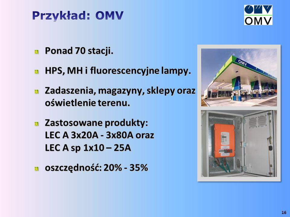 Ponad 70 stacji. HPS, MH i fluorescencyjne lampy. Zadaszenia, magazyny, sklepy oraz oświetlenie terenu. Zastosowane produkty: LEC A 3x20A - 3x80A oraz