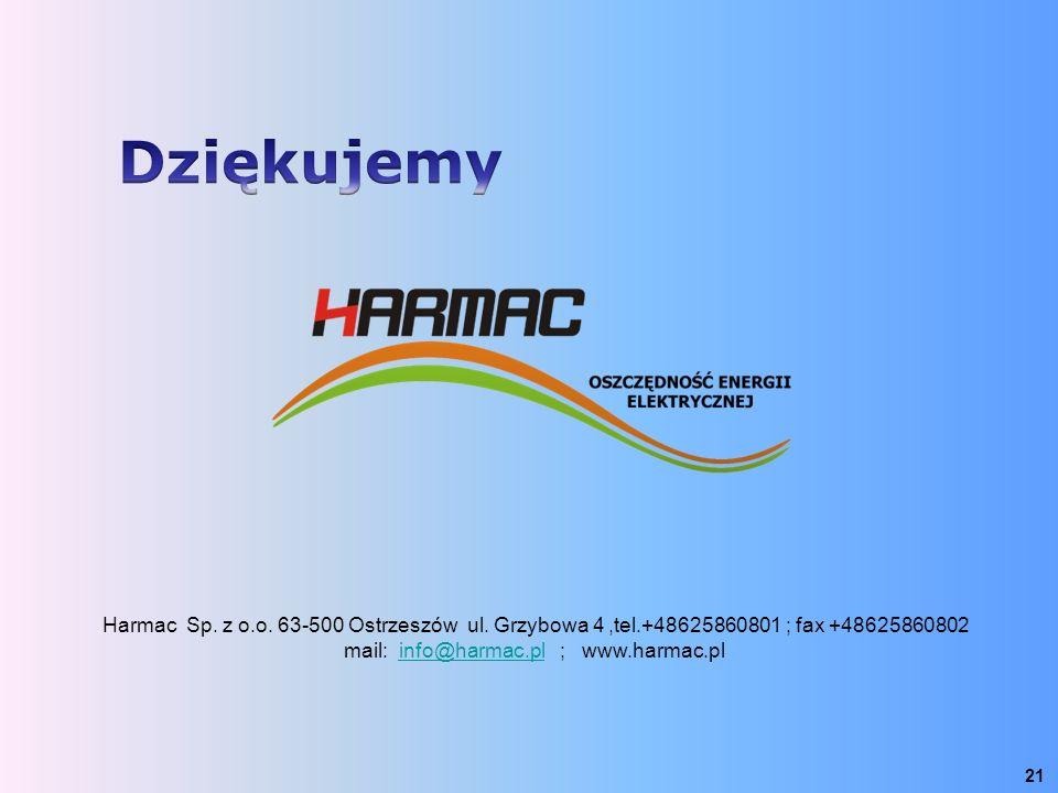 21 Harmac Sp. z o.o. 63-500 Ostrzeszów ul. Grzybowa 4,tel.+48625860801 ; fax +48625860802 mail: info@harmac.pl ; www.harmac.plinfo@harmac.pl