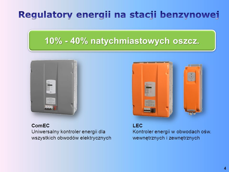 4 ComEC Uniwersalny kontroler energii dla wszystkich obwodów elektrycznych LEC Kontroler energii w obwodach ośw. wewnętrznych i zewnętrznych 10% - 40%