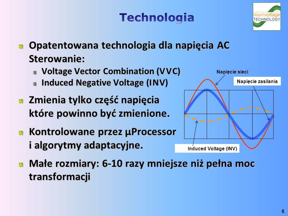 Opatentowana technologia dla napięcia AC Sterowanie: Voltage Vector Combination (V V C) Induced Negative Voltage (I N V) Zmienia tylko część napięcia