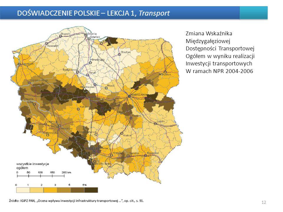 DOŚWIADCZENIE POLSKIE – LEKCJA 1, Transport 12 Zmiana Wskaźnika Międzygałęziowej Dostępności Transportowej Ogółem w wyniku realizacji Inwestycji trans