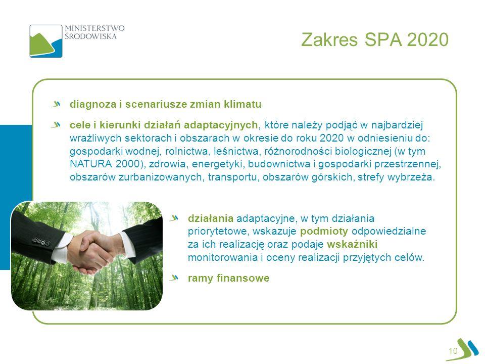 Zakres SPA 2020 10 diagnoza i scenariusze zmian klimatu cele i kierunki działań adaptacyjnych, które należy podjąć w najbardziej wrażliwych sektorach