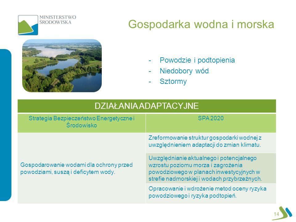 Gospodarka wodna i morska -Powodzie i podtopienia -Niedobory wód -Sztormy 14 DZIAŁANIA ADAPTACYJNE Strategia Bezpieczeństwo Energetyczne i Środowisko