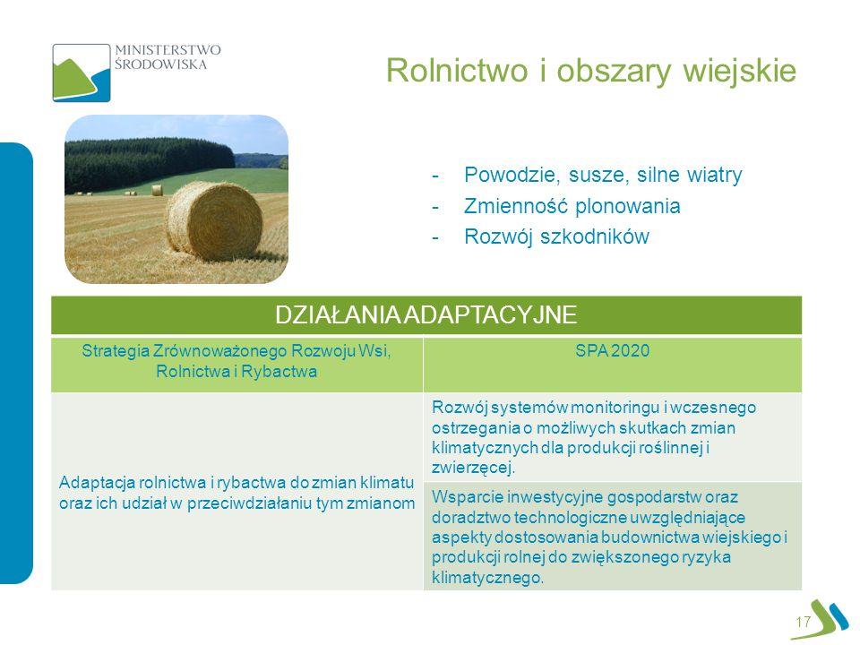 Rolnictwo i obszary wiejskie -Powodzie, susze, silne wiatry -Zmienność plonowania -Rozwój szkodników 17 DZIAŁANIA ADAPTACYJNE Strategia Zrównoważonego