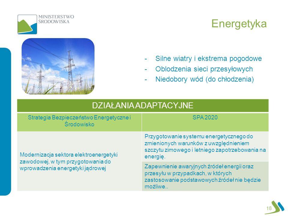Energetyka -Silne wiatry i ekstrema pogodowe -Oblodzenia sieci przesyłowych -Niedobory wód (do chłodzenia) 18 DZIAŁANIA ADAPTACYJNE Strategia Bezpiecz