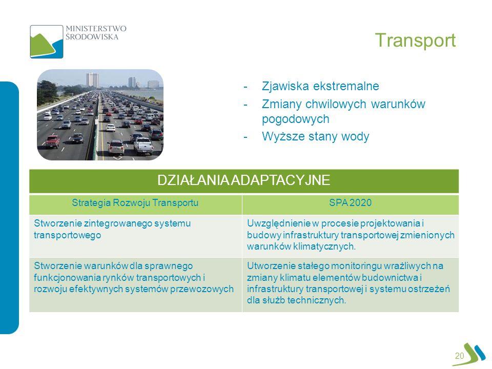 Transport -Zjawiska ekstremalne -Zmiany chwilowych warunków pogodowych -Wyższe stany wody 20 DZIAŁANIA ADAPTACYJNE Strategia Rozwoju TransportuSPA 202