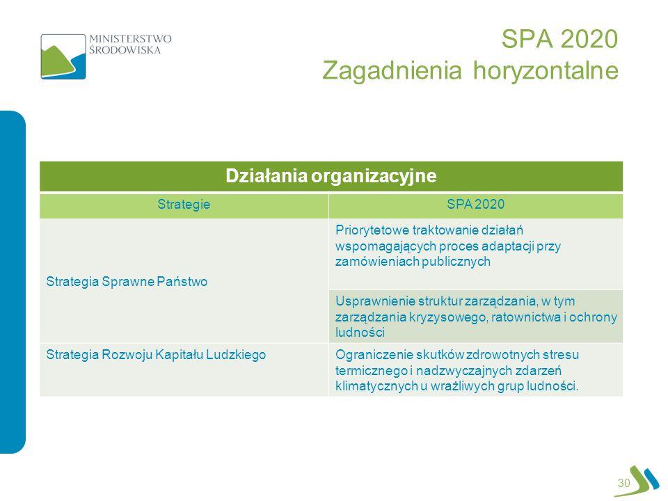 SPA 2020 Zagadnienia horyzontalne 30 Działania organizacyjne StrategieSPA 2020 Strategia Sprawne Państwo Priorytetowe traktowanie działań wspomagający