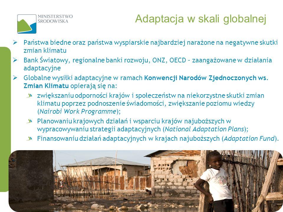 Adaptacja w skali globalnej Państwa biedne oraz państwa wyspiarskie najbardziej narażone na negatywne skutki zmian klimatu Bank Światowy, regionalne b