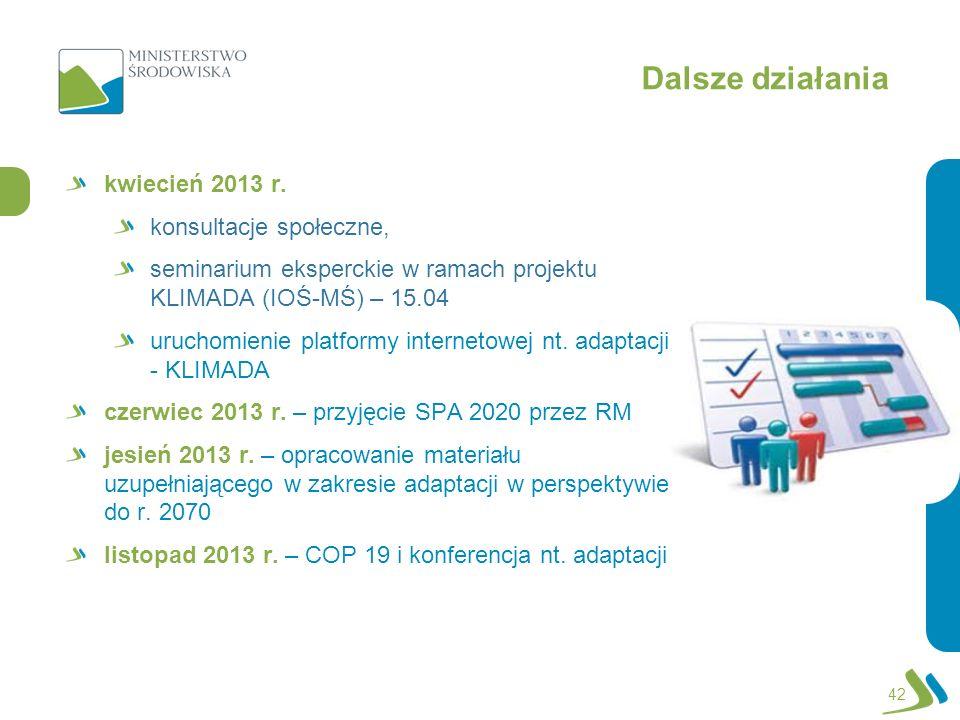 Dalsze działania kwiecień 2013 r. konsultacje społeczne, seminarium eksperckie w ramach projektu KLIMADA (IOŚ-MŚ) – 15.04 uruchomienie platformy inter