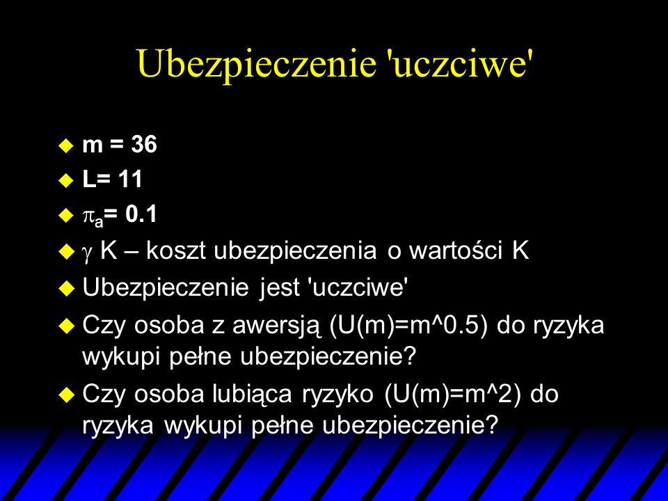 Ubezpieczenie 'uczciwe' u m = 36 u L= 11 u a = 0.1 u K – koszt ubezpieczenia o wartości K u Ubezpieczenie jest 'uczciwe' u Czy osoba z awersją (U(m)=m