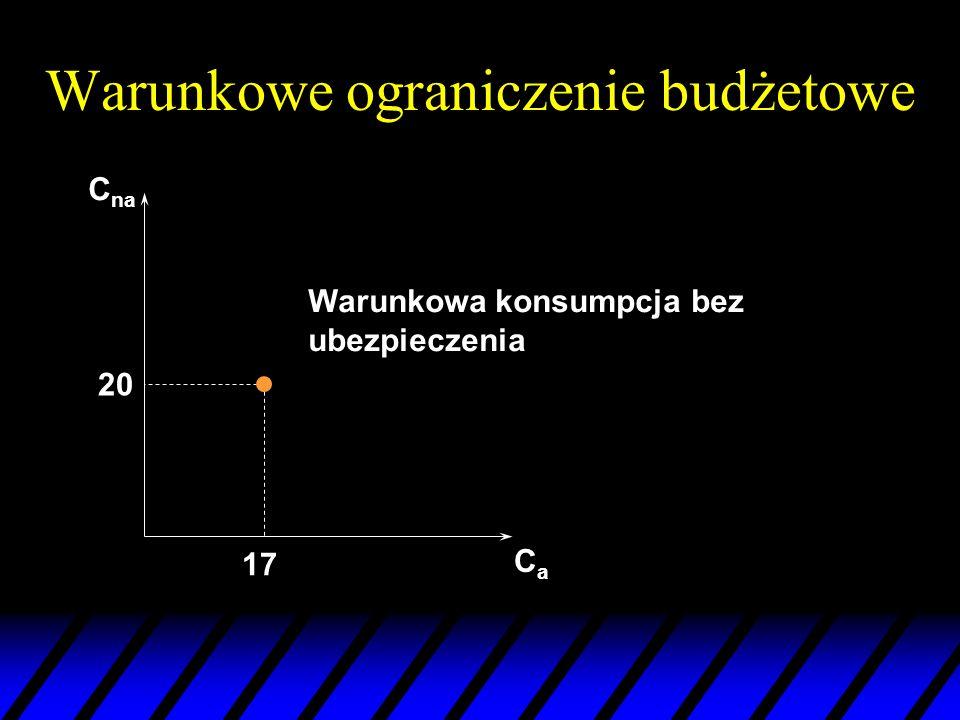 Warunkowe ograniczenie budżetowe C na CaCa 20 17 Warunkowa konsumpcja bez ubezpieczenia