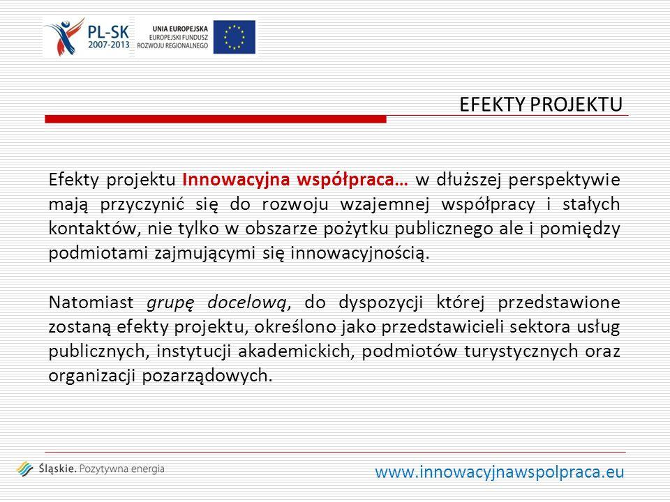 www.innowacyjnawspolpraca.eu Efekty projektu Innowacyjna współpraca… w dłuższej perspektywie mają przyczynić się do rozwoju wzajemnej współpracy i stałych kontaktów, nie tylko w obszarze pożytku publicznego ale i pomiędzy podmiotami zajmującymi się innowacyjnością.