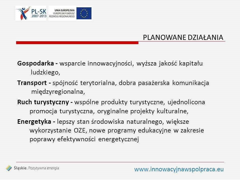 www.innowacyjnawspolpraca.eu Gospodarka - wsparcie innowacyjności, wyższa jakość kapitału ludzkiego, Transport - spójność terytorialna, dobra pasażerska komunikacja międzyregionalna, Ruch turystyczny - wspólne produkty turystyczne, ujednolicona promocja turystyczna, oryginalne projekty kulturalne, Energetyka - lepszy stan środowiska naturalnego, większe wykorzystanie OZE, nowe programy edukacyjne w zakresie poprawy efektywności energetycznej PLANOWANE DZIAŁANIA