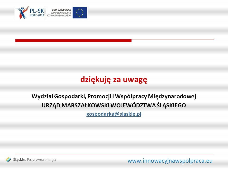 www.innowacyjnawspolpraca.eu dziękuję za uwagę Wydział Gospodarki, Promocji i Współpracy Międzynarodowej URZĄD MARSZAŁKOWSKI WOJEWÓDZTWA ŚLĄSKIEGO gospodarka@slaskie.pl