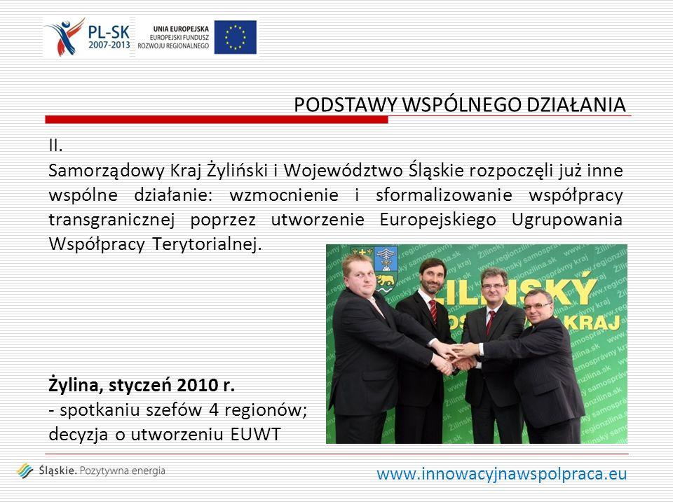 www.innowacyjnawspolpraca.eu II. Samorządowy Kraj Żyliński i Województwo Śląskie rozpoczęli już inne wspólne działanie: wzmocnienie i sformalizowanie