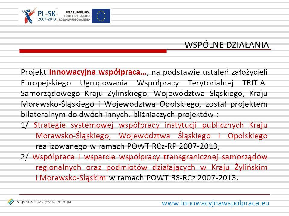 www.innowacyjnawspolpraca.eu Projekt Innowacyjna współpraca…, na podstawie ustaleń założycieli Europejskiego Ugrupowania Współpracy Terytorialnej TRITIA: Samorządowego Kraju Zylińskiego, Województwa Śląskiego, Kraju Morawsko-Śląskiego i Województwa Opolskiego, został projektem bilateralnym do dwóch innych, bliźniaczych projektów : 1/ Strategie systemowej współpracy instytucji publicznych Kraju Morawsko-Śląskiego, Województwa Śląskiego i Opolskiego realizowanego w ramach POWT RCz-RP 2007-2013, 2/ Współpraca i wsparcie współpracy transgranicznej samorządów regionalnych oraz podmiotów działających w Kraju Żylińskim i Morawsko-Śląskim w ramach POWT RS-RCz 2007-2013.