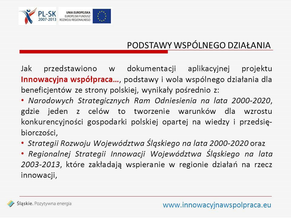 www.innowacyjnawspolpraca.eu Jak przedstawiono w dokumentacji aplikacyjnej projektu Innowacyjna współpraca…, podstawy i wola wspólnego działania dla beneficjentów ze strony polskiej, wynikały pośrednio z: Narodowych Strategicznych Ram Odniesienia na lata 2000-2020, gdzie jeden z celów to tworzenie warunków dla wzrostu konkurencyjności gospodarki polskiej opartej na wiedzy i przedsię- biorczości, Strategii Rozwoju Województwa Śląskiego na lata 2000-2020 oraz Regionalnej Strategii Innowacji Województwa Śląskiego na lata 2003-2013, które zakładają wspieranie w regionie działań na rzecz innowacji, PODSTAWY WSPÓLNEGO DZIAŁANIA