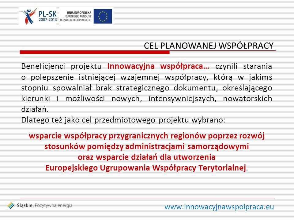 www.innowacyjnawspolpraca.eu Beneficjenci projektu Innowacyjna współpraca… czynili starania o polepszenie istniejącej wzajemnej współpracy, którą w ja