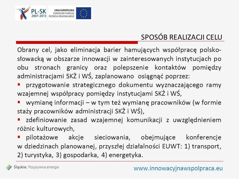 www.innowacyjnawspolpraca.eu Obrany cel, jako eliminacja barier hamujących współpracę polsko- słowacką w obszarze innowacji w zainteresowanych instytucjach po obu stronach granicy oraz polepszenie kontaktów pomiędzy administracjami SKŻ i WŚ, zaplanowano osiągnąć poprzez: przygotowanie strategicznego dokumentu wyznaczającego ramy wzajemnej współpracy pomiędzy instytucjami SKŻ i WŚ, wymianę informacji – w tym też wymianę pracowników (w formie staży pracowników administracji SKŻ i WŚ), zdefiniowanie zasad wzajemnej komunikacji z uwzględnieniem różnic kulturowych, pilotażowe akcje sieciowania, obejmujące konferencje w dziedzinach planowanej, przyszłej działalności EUWT: 1) transport, 2) turystyka, 3) gospodarka, 4) energetyka.