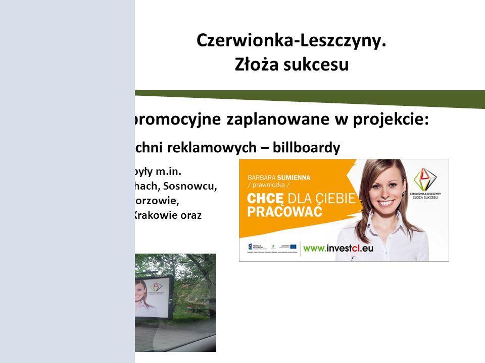 Wynajem powierzchni reklamowych – billboardy Działania promocyjne zaplanowane w projekcie: Billboardy zlokalizowane były m.in. w Rybniku, Gliwicach, T