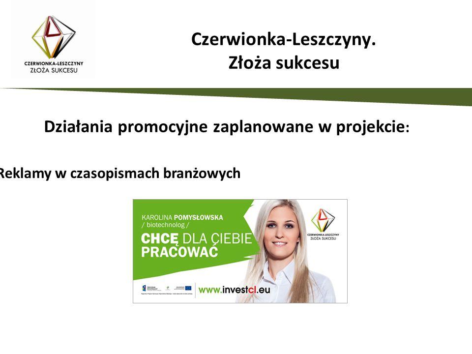 Działania promocyjne zaplanowane w projekcie : Reklamy w czasopismach branżowych Czerwionka-Leszczyny. Złoża sukcesu