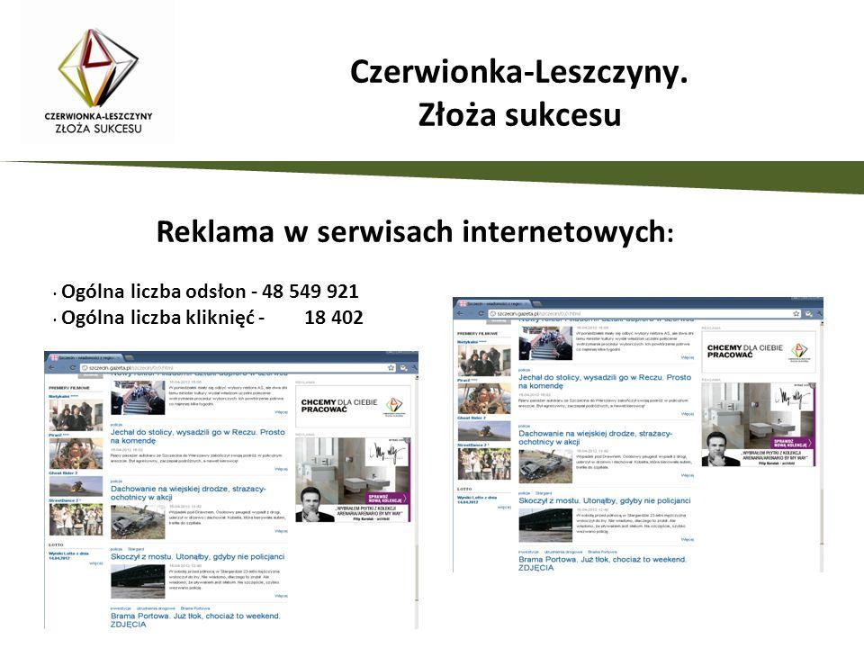 Reklama w serwisach internetowych : Czerwionka-Leszczyny. Złoża sukcesu Ogólna liczba odsłon - 48 549 921 Ogólna liczba kliknięć - 18 402