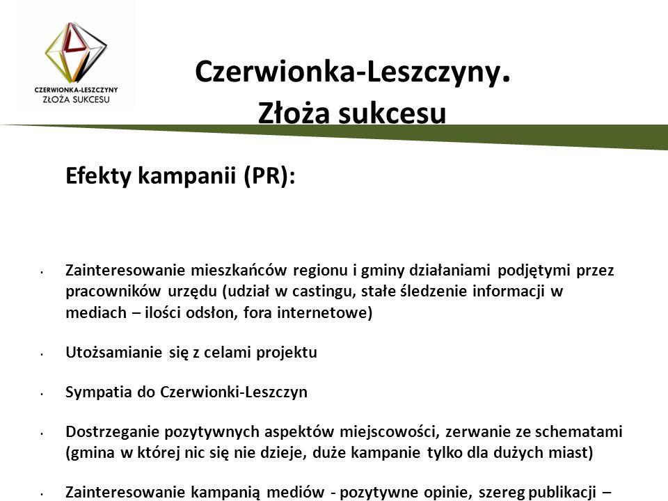Efekty kampanii (PR): Zainteresowanie mieszkańców regionu i gminy działaniami podjętymi przez pracowników urzędu (udział w castingu, stałe śledzenie i