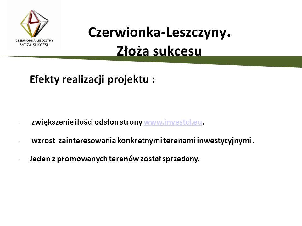 Czerwionka-Leszczyny. Złoża sukcesu Efekty realizacji projektu : zwiększenie ilości odsłon strony www.investcl.eu.www.investcl.eu wzrost zainteresowan