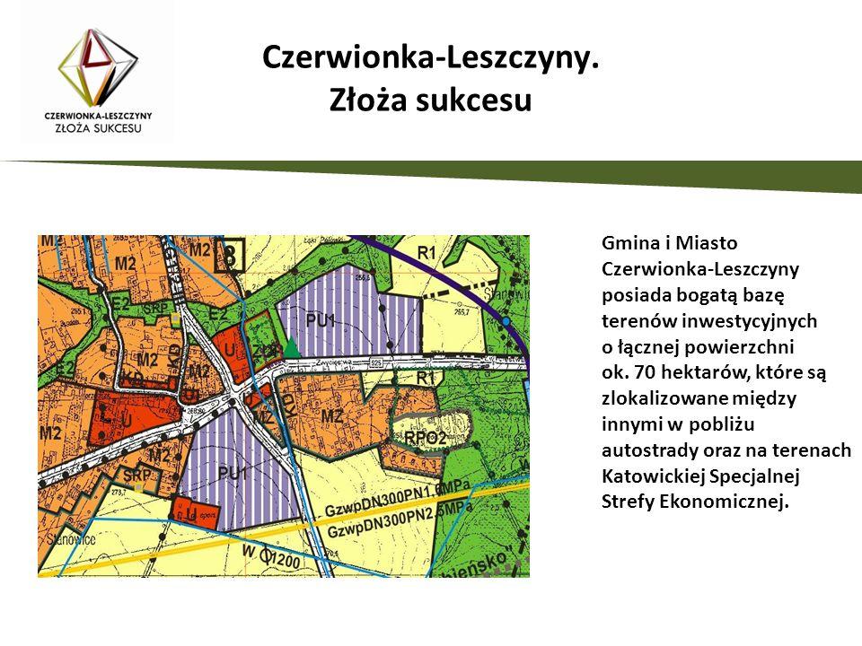 Gmina i Miasto Czerwionka-Leszczyny posiada bogatą bazę terenów inwestycyjnych o łącznej powierzchni ok. 70 hektarów, które są zlokalizowane między in