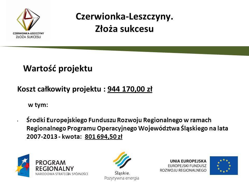 Koszt całkowity projektu : 944 170,00 zł w tym: Środki Europejskiego Funduszu Rozwoju Regionalnego w ramach Regionalnego Programu Operacyjnego Województwa Śląskiego na lata 2007-2013 - kwota: 801 694,50 zł Środki własne gminy – kwota: 142 475,50 zł Wartość projektu