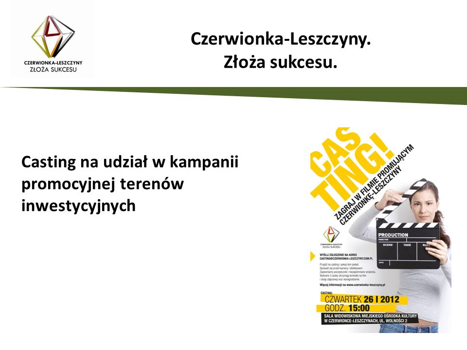 Casting na udział w kampanii promocyjnej terenów inwestycyjnych Czerwionka-Leszczyny.