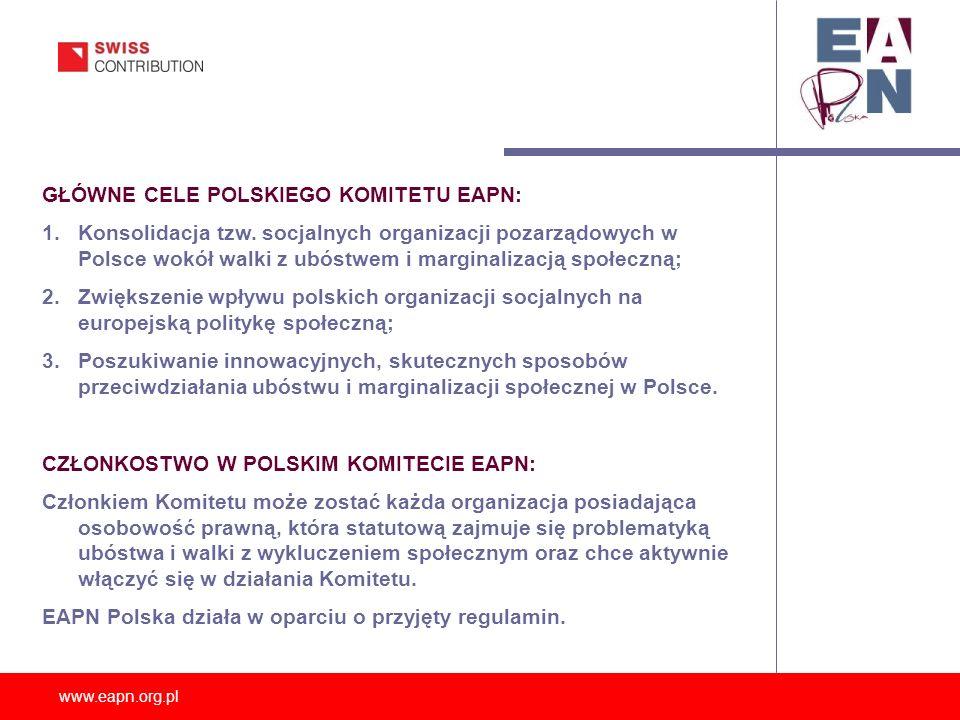 www.eapn.org.pl GŁÓWNE CELE POLSKIEGO KOMITETU EAPN: 1.Konsolidacja tzw. socjalnych organizacji pozarządowych w Polsce wokół walki z ubóstwem i margin