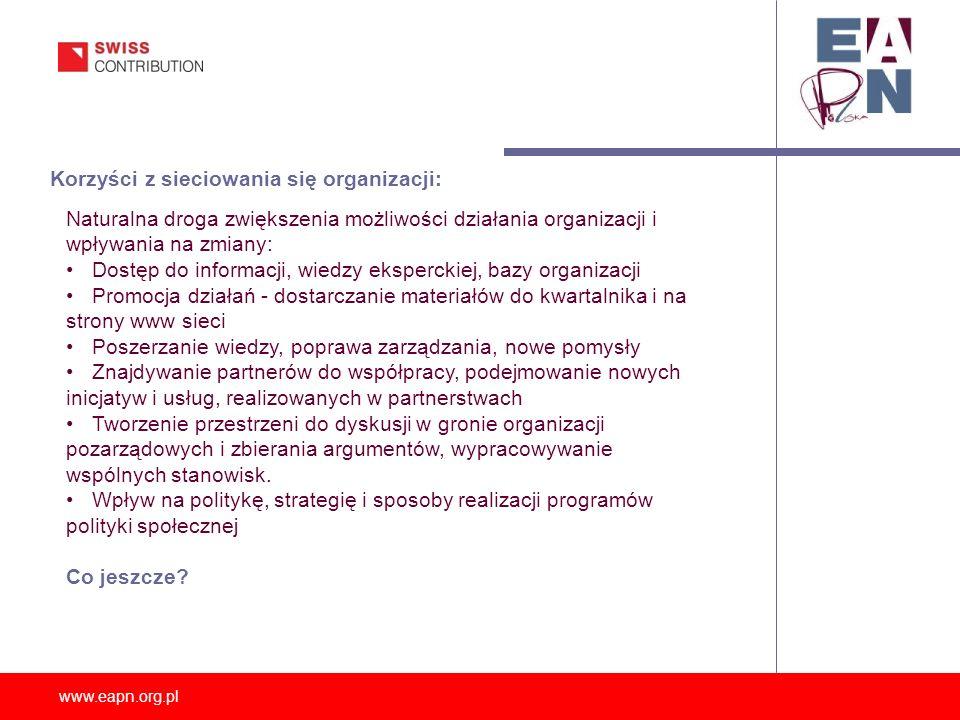 www.eapn.org.pl Korzyści z sieciowania się organizacji: Naturalna droga zwiększenia możliwości działania organizacji i wpływania na zmiany: Dostęp do