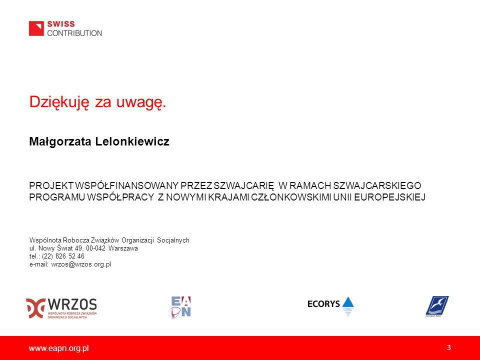 www.eapn.org.pl 3 Dziękuję za uwagę. Małgorzata Lelonkiewicz PROJEKT WSPÓŁFINANSOWANY PRZEZ SZWAJCARIĘ W RAMACH SZWAJCARSKIEGO PROGRAMU WSPÓŁPRACY Z N