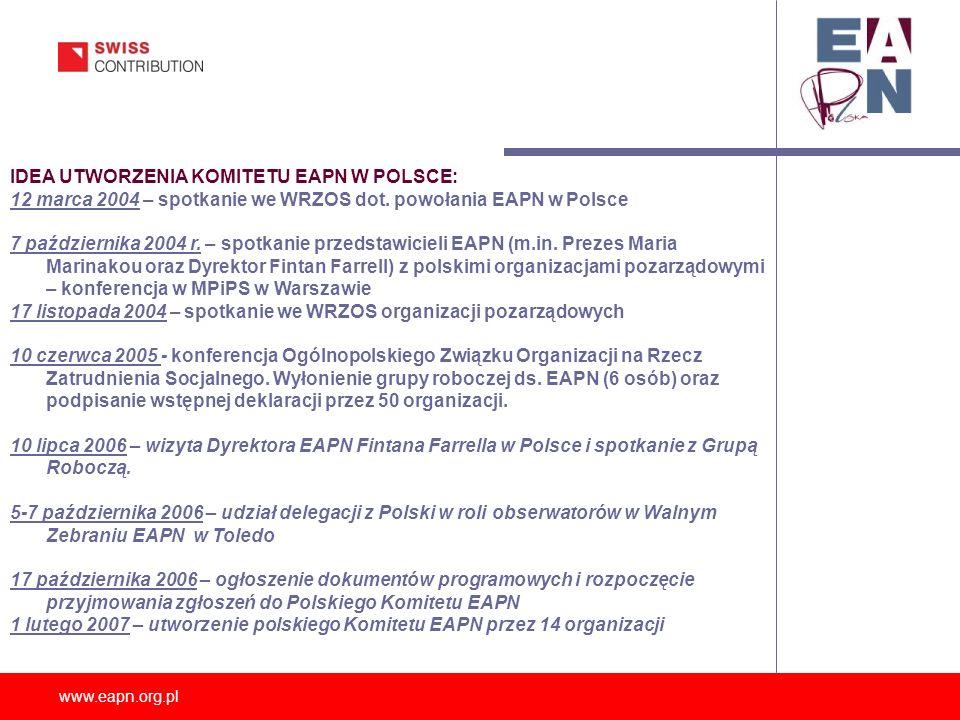www.eapn.org.pl IDEA UTWORZENIA KOMITETU EAPN W POLSCE: 12 marca 2004 – spotkanie we WRZOS dot. powołania EAPN w Polsce 7 października 2004 r. – spotk